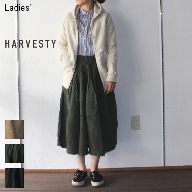 HARVESTY リネンキュロットスカート A21707 (OLIVE)