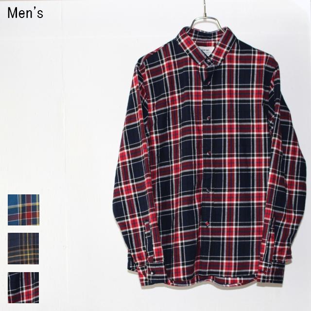 weac. コットンネルチェックシャツ KURUMICHAN (NAVY×RED)