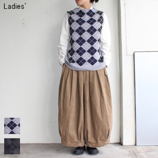 maomade アーガイルニットベスト Argyle Knit Vest 731158 (GRAY , CHARCOAL)