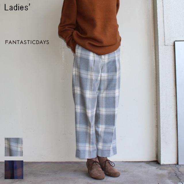 FANTASTICDAYS チェックワイドアンクルパンツ TAPERED-74-01 (GRAY)