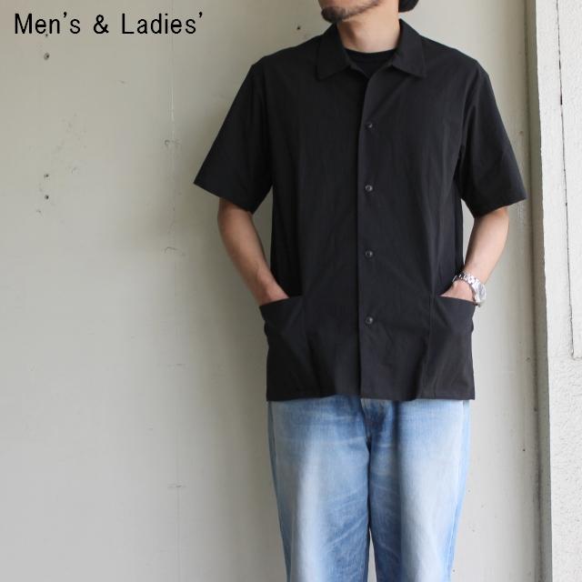 THE HINOKI パラシュートクロス半袖シャツ (BLACK)