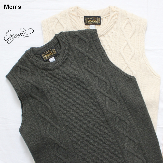 Orgueil ケーブルニットベスト Cable Knit Vest OR-4122 2カラー