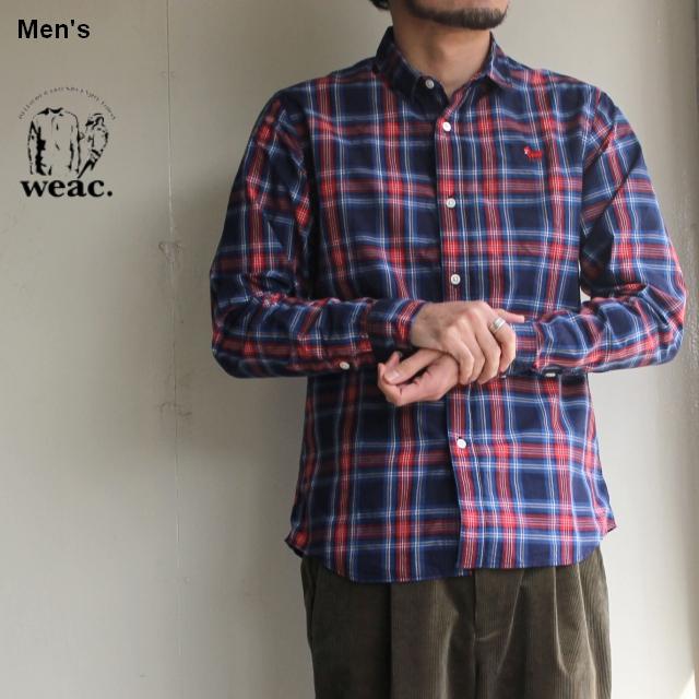 weac. チェックシャツ PUGCHAN  (NAVY × RED)