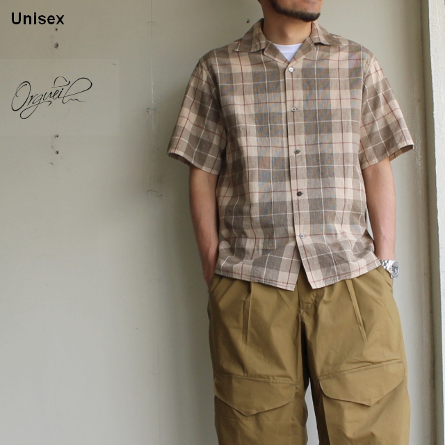 Orgueil クラシカルチェックシャツ Open Collared Shirt   OR-5038A (Beige Check)