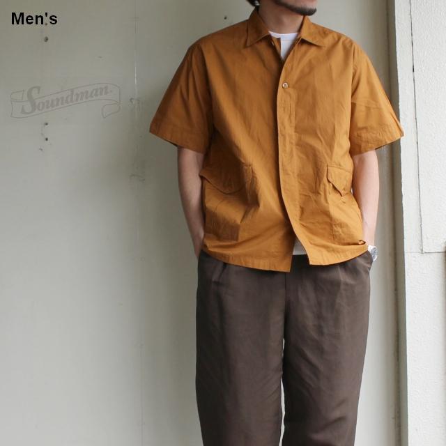 Soundman カーゴポケットオープンカラーシャツ Austin 275M-911N (オレンジブラウン)