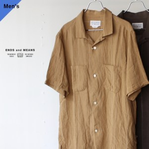 ENDS and MEANS エンズアンドミーンズ S/O Box Shirts S/S リネンボックスシャツ EM201S010 ベージュ