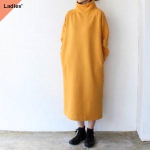 裏起毛モックネックスウェットワンピース (Yellow orange)