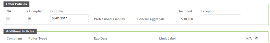 Certify® Other Policies