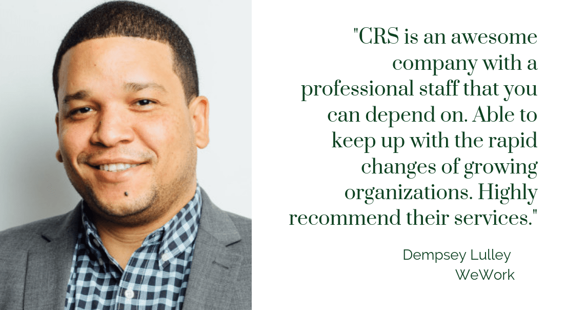 Dempsey Lulley WeWork testimonial for CR Solutions