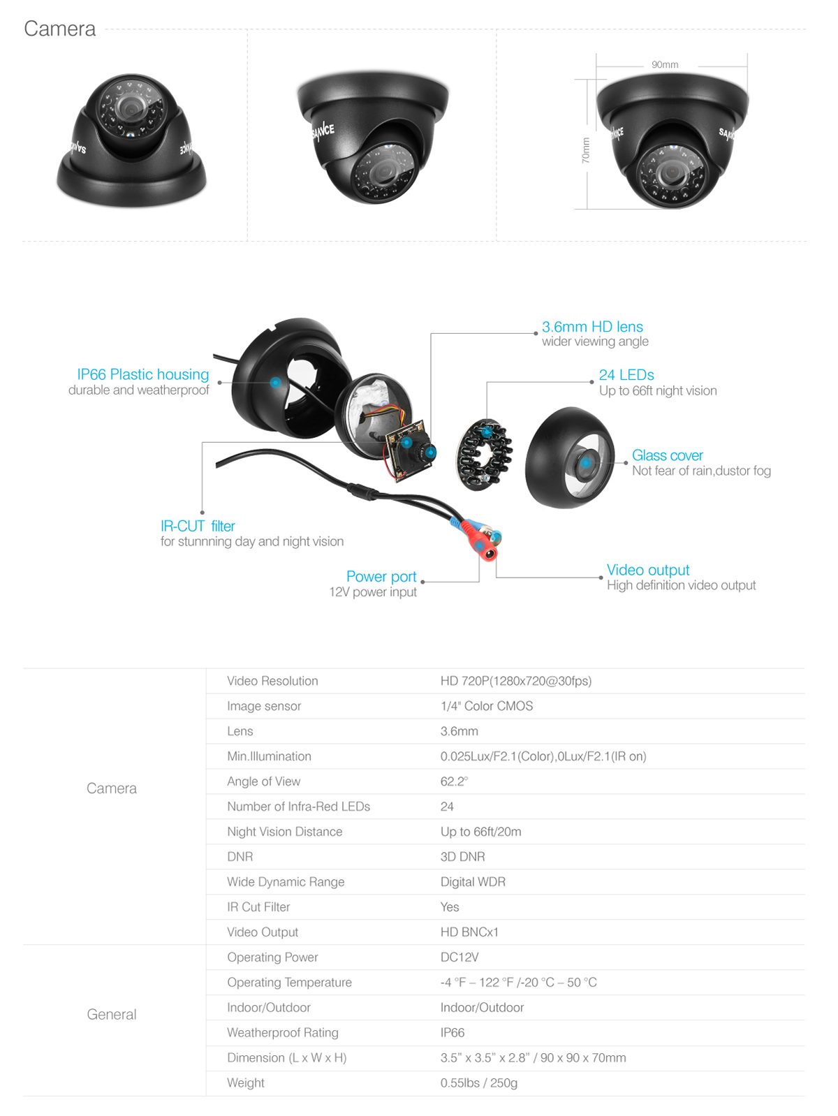 SANNCE 720P HD 1500TVL IP66 In/Outdoor IR Night Vision