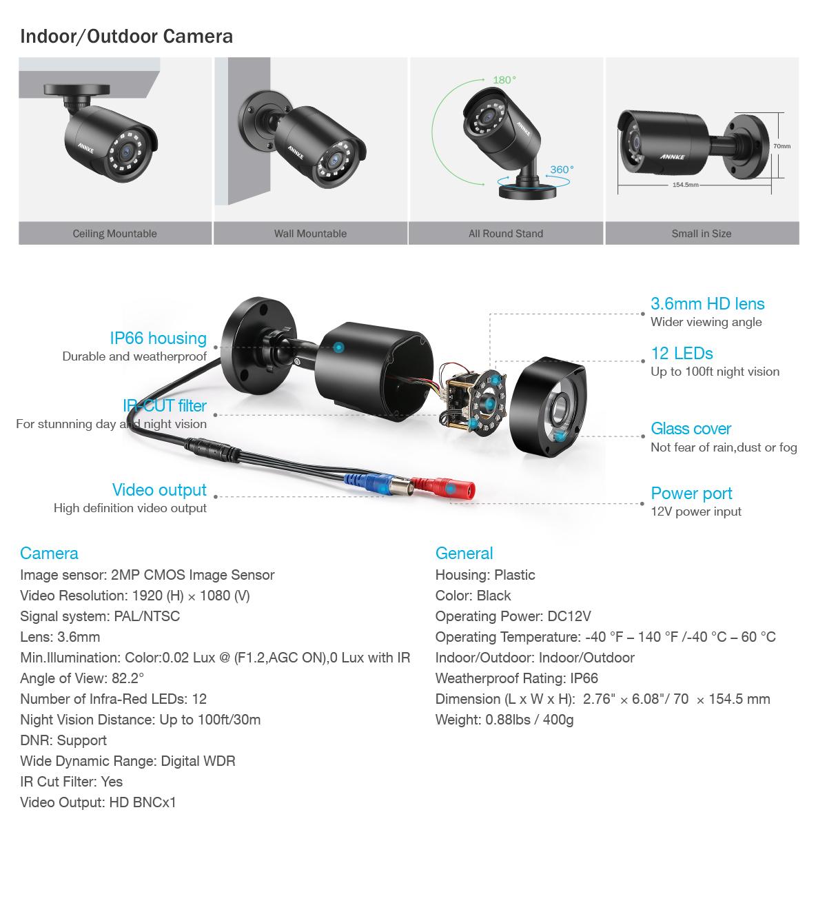 Annke 8ch 4ch P Lite Dvr 2mp Tvl Security Camera
