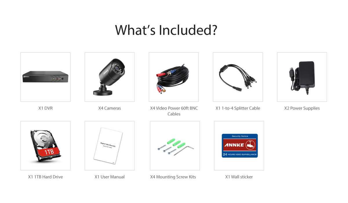 ANNKE 8CH / 4CH 1080N DVR Smart Security 1080P TVI Cameras