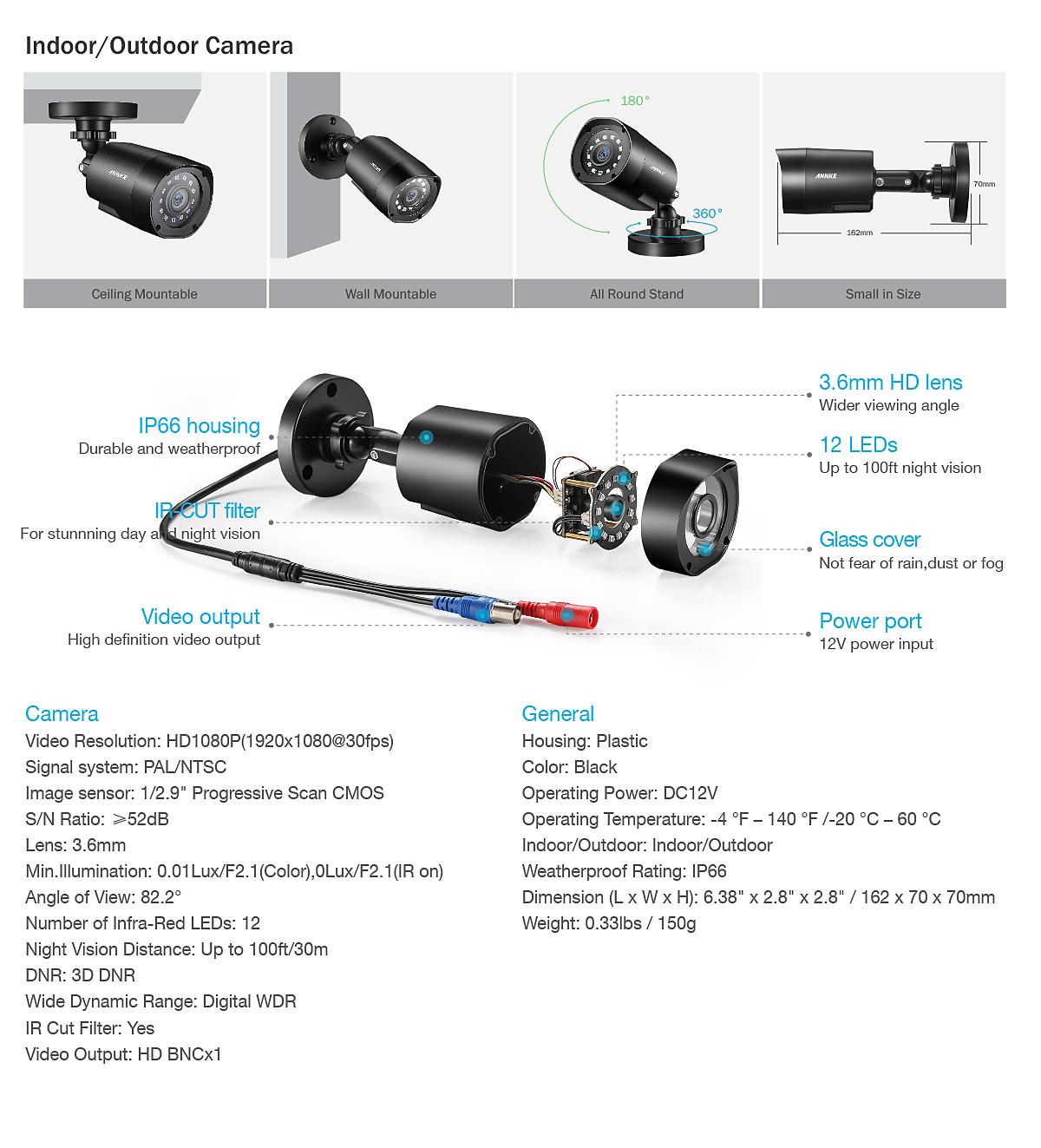 ANNKE 8+2 Channel 5IN1 1080P Lite H.264+ DVR 3000TVL CCTV