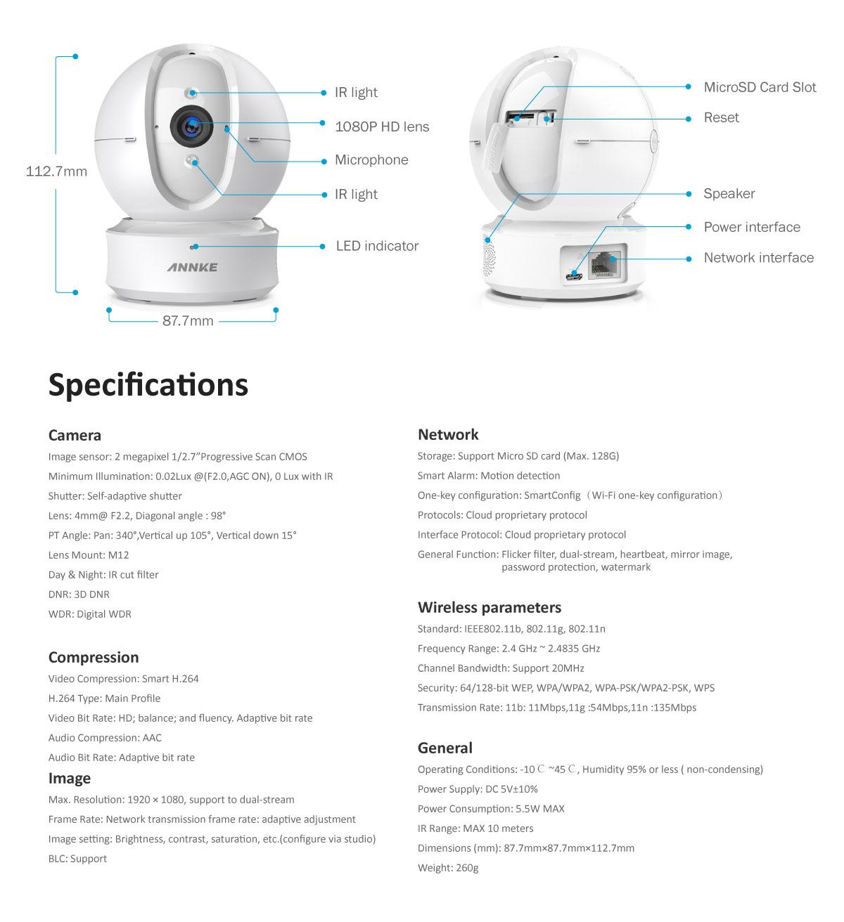 ANNKE Wireless Wifi Dome HD 1080P 2MP CCTV Cameras