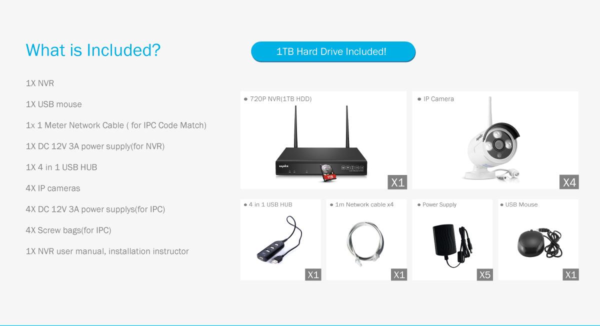 SANNCE 8CH 1080P HDMI NVR Wireless Wifi CCTV Camera