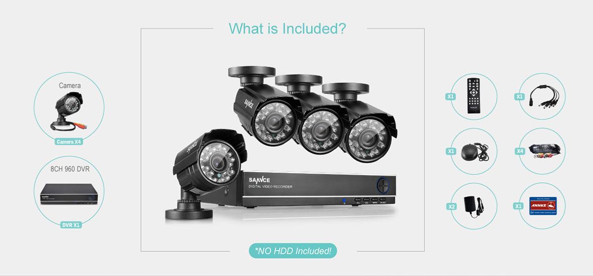 Sannce 8CH 960H HDMI DVR 900TVL Outdoor CCTV Video Home