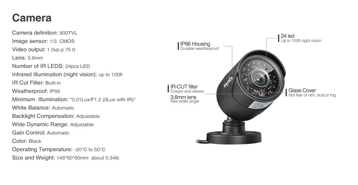 SANNCE 900TVL Outdoor IR-CUT Night Vision Security Camera