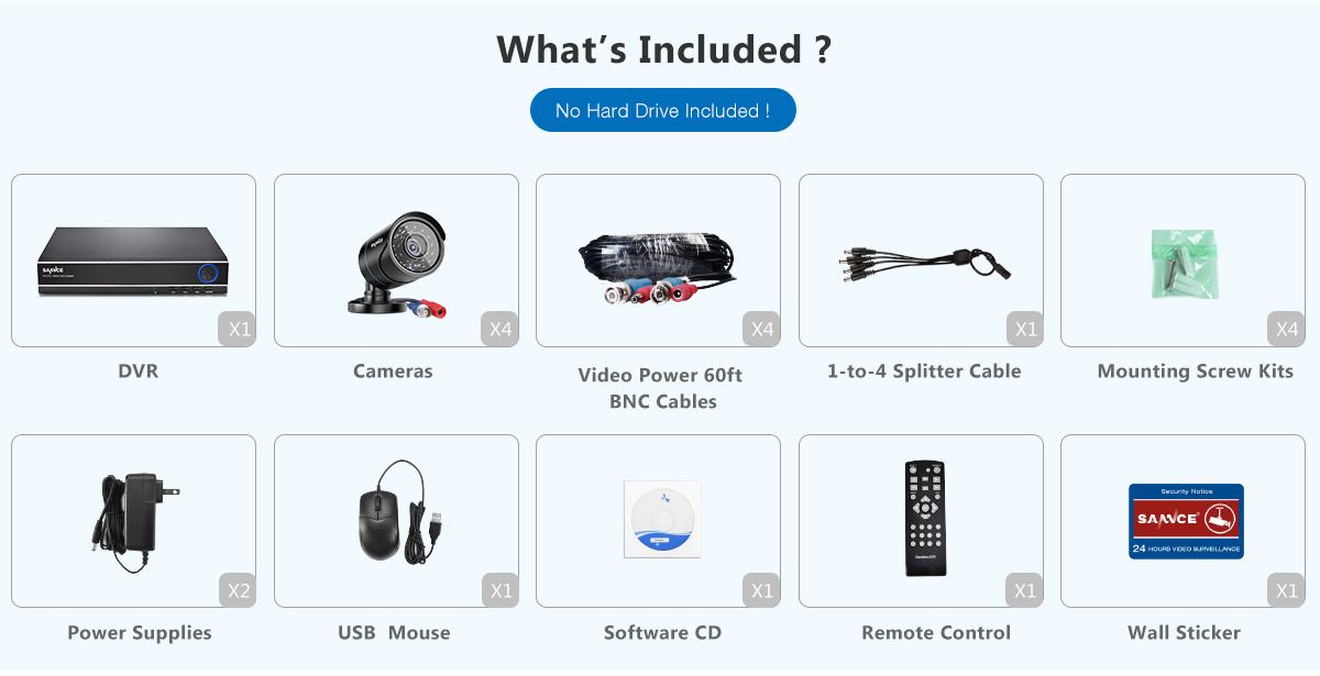 SANNCE 5in1 HD 1080N Video 8CH DVR 720P IR Outdoor Home