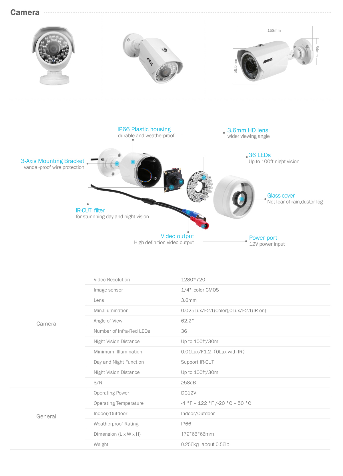 ANNKE 8CH 1080N Video Überwachungskamera DVR IR-Cut 66FT