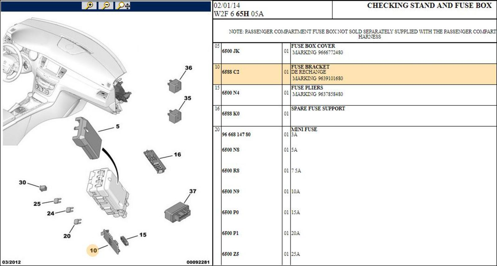 hight resolution of 3 x peugeot 508 308 fuse bracket