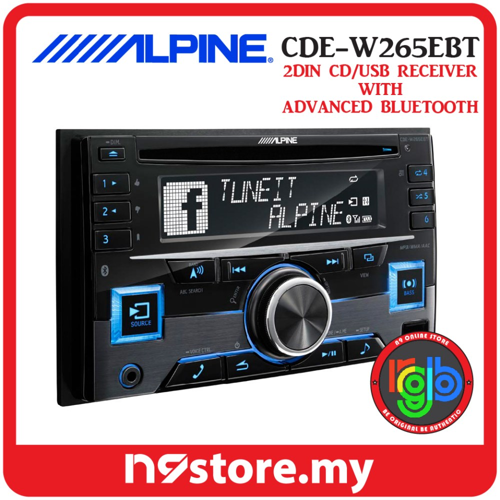 medium resolution of alpine cde w265ebt double din bluetooth cd usb aux car stereo