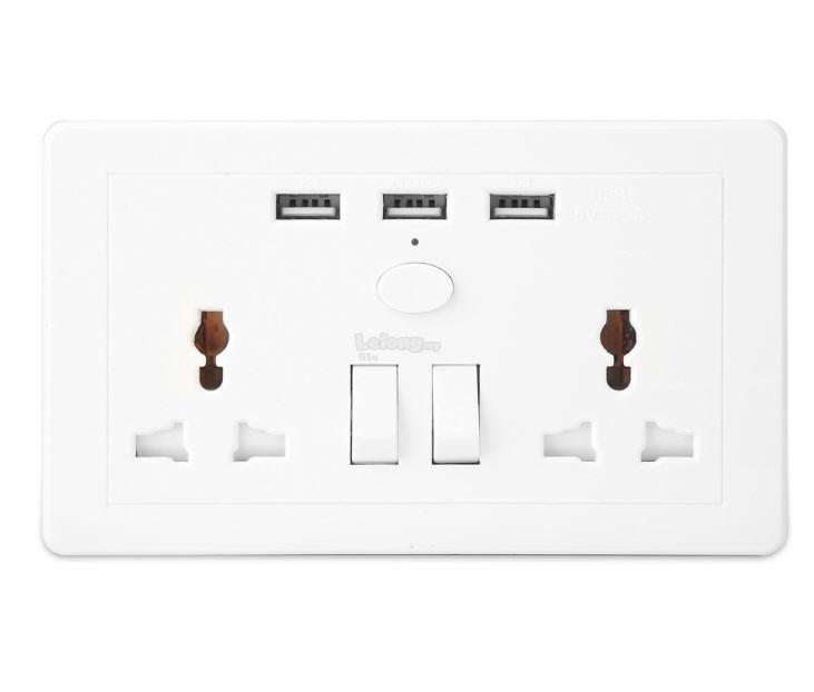 Double Socket Extension with 3A 3 US (end 6/12/2021 7:15 PM)