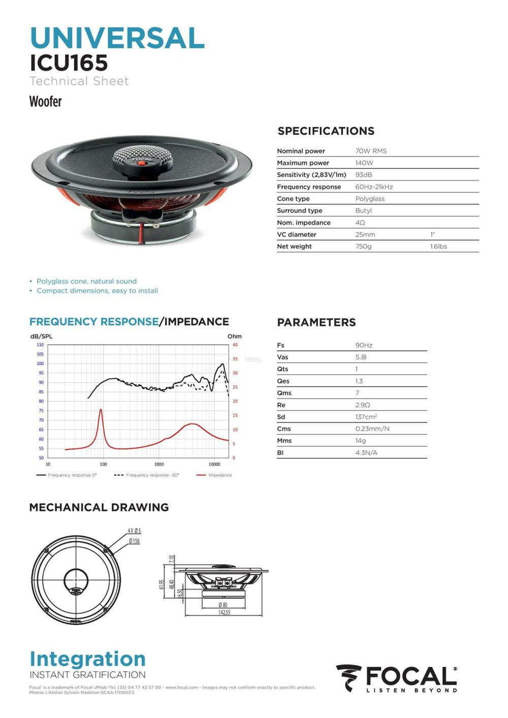 medium resolution of focal integration universal icu 165 2 way coaxial car speakers