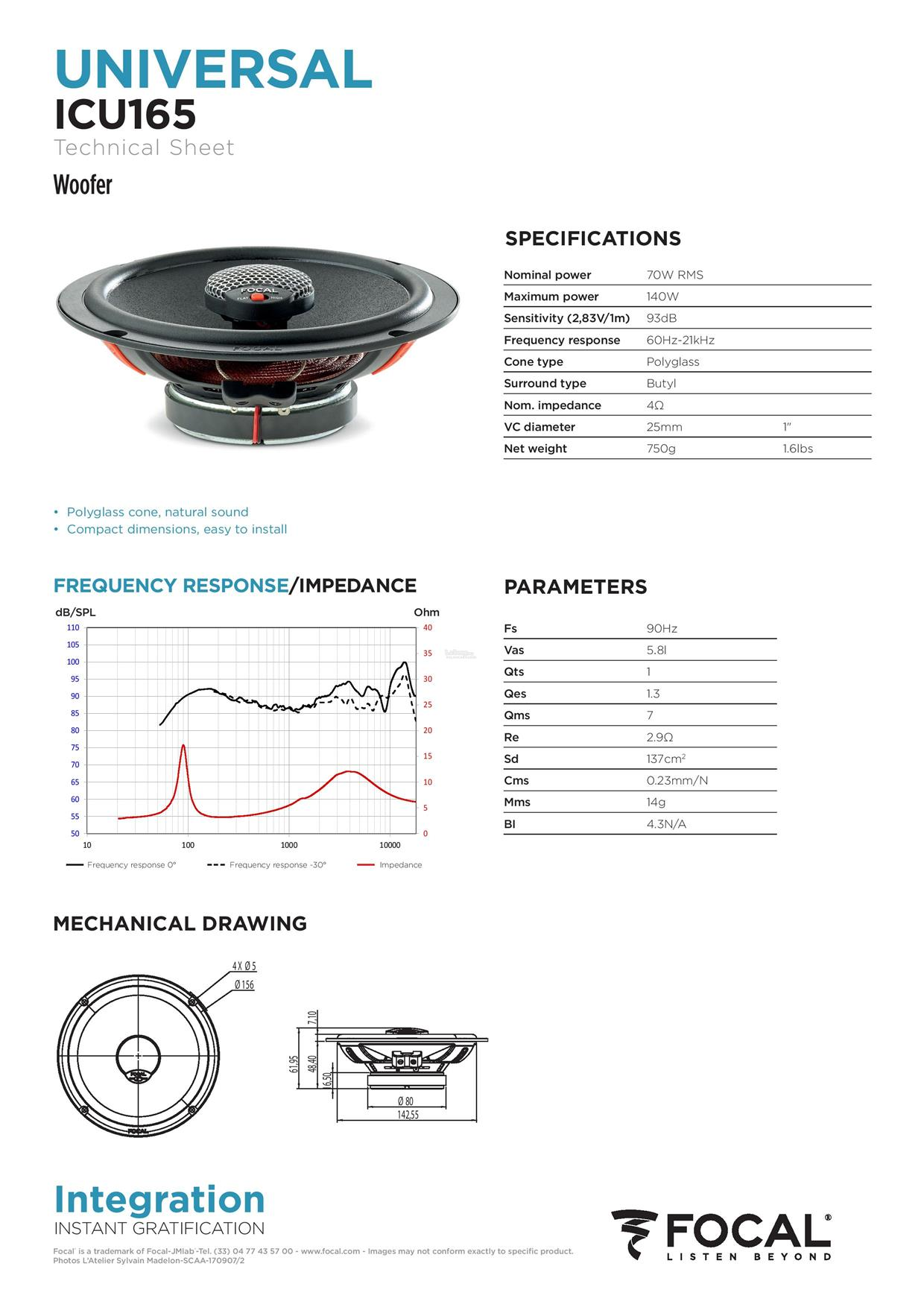 hight resolution of focal integration universal icu 165 2 way coaxial car speakers