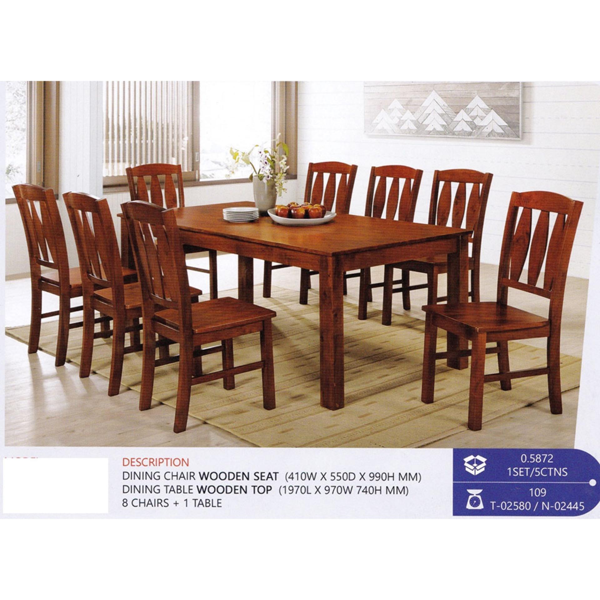 8 Chair Dining Set Fully Solid Wood 1 8 Dining Table Chair Set Walnut Colour
