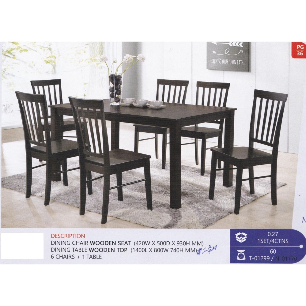 Dining Chair Set Of 6 Fully Solid Wood 1 Dining Table 6 Dining Chair Set Walnut Colour