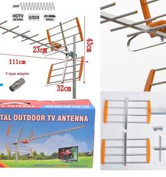 hdtv analog digital tv outdoor aerial assembly set uhf 0 75km freeview [ 1426 x 820 Pixel ]