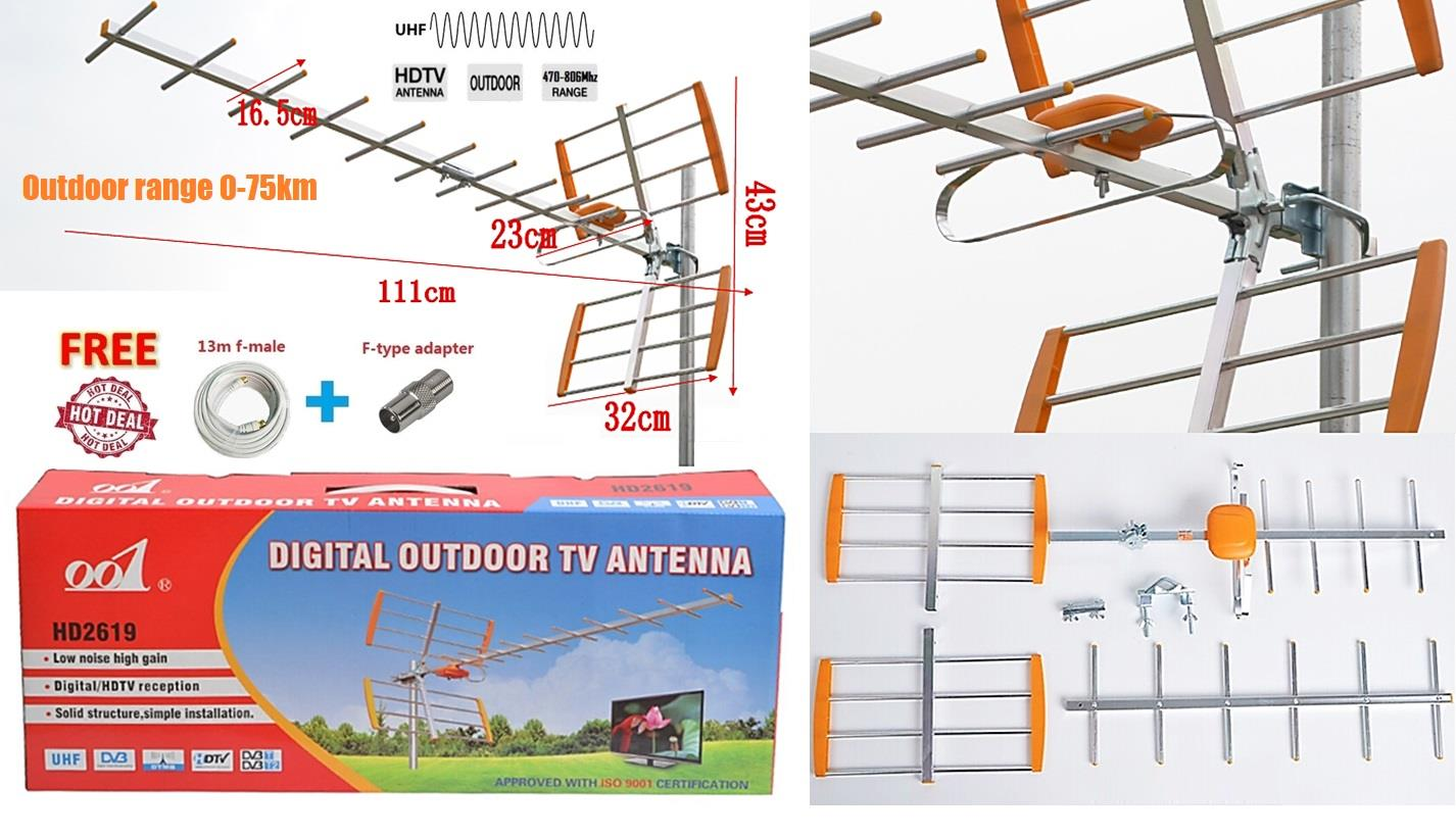 hight resolution of hdtv analog digital tv outdoor aerial assembly set uhf 0 75km freeview