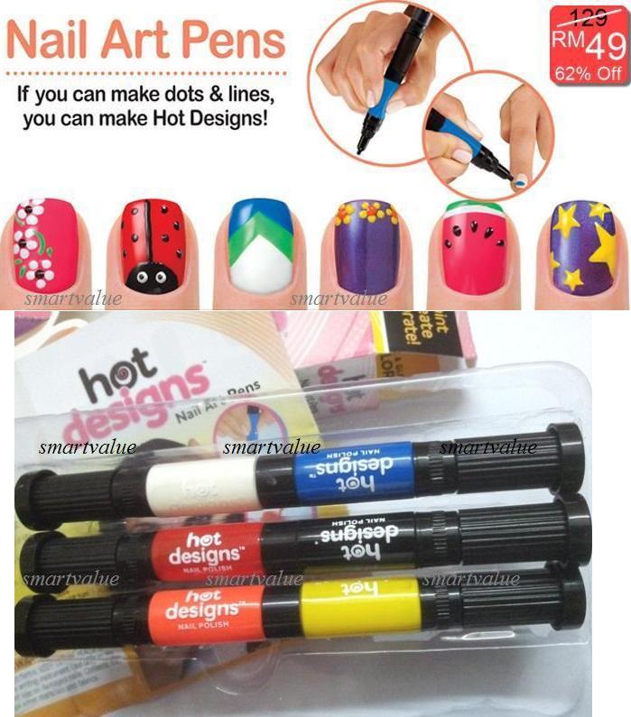 Hot Designs Nail Art Pens Brush Pen 2in1 Set 6 Beautiful Colours