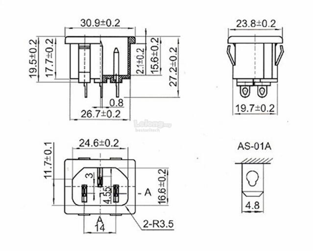 IEC320 C14 Inlet Power Plug Socket A (end 1/1/2020 10:15 AM)