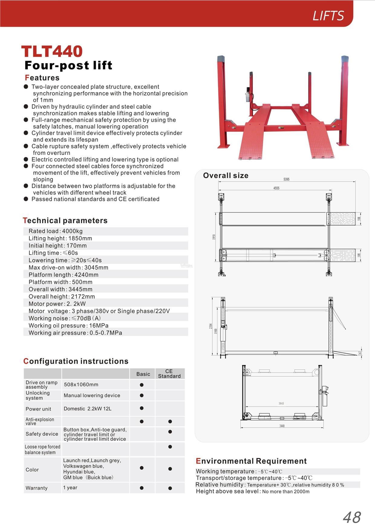 hight resolution of launch tlt 440 4 0ton 4 post car lift hoist