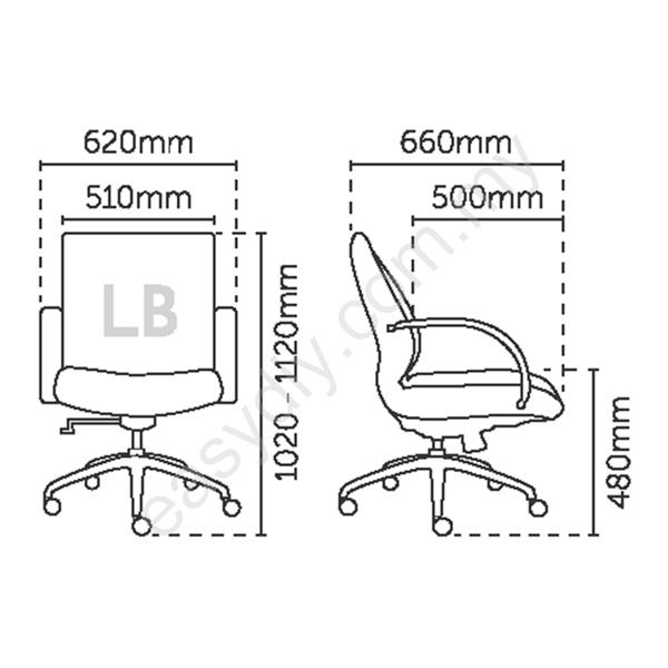 Leather / Fabric Office Chair / Bossi (end 2/4/2021 4:15 PM)