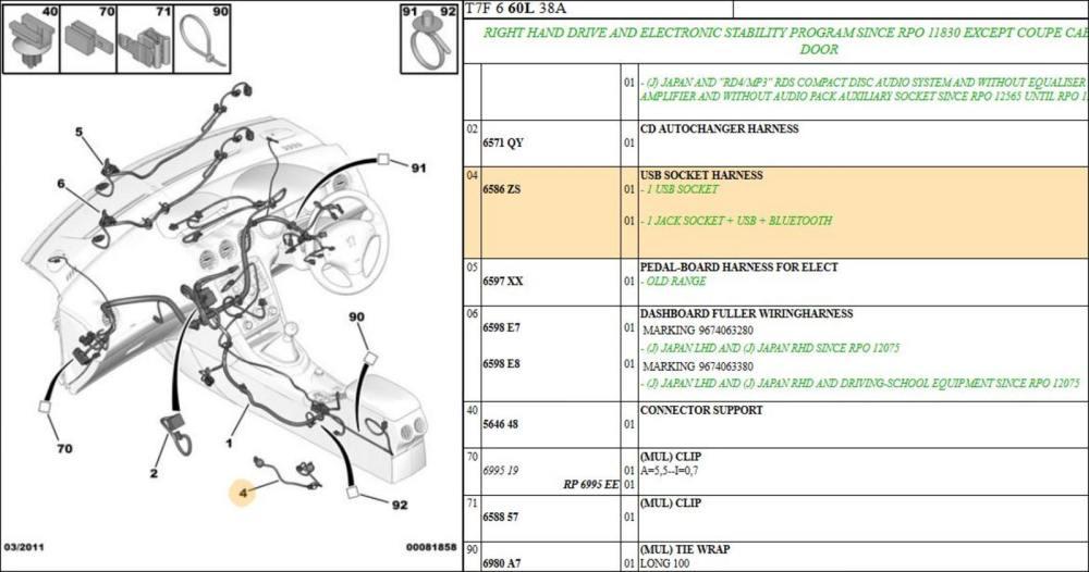 medium resolution of peugeot 308 usb socket harness
