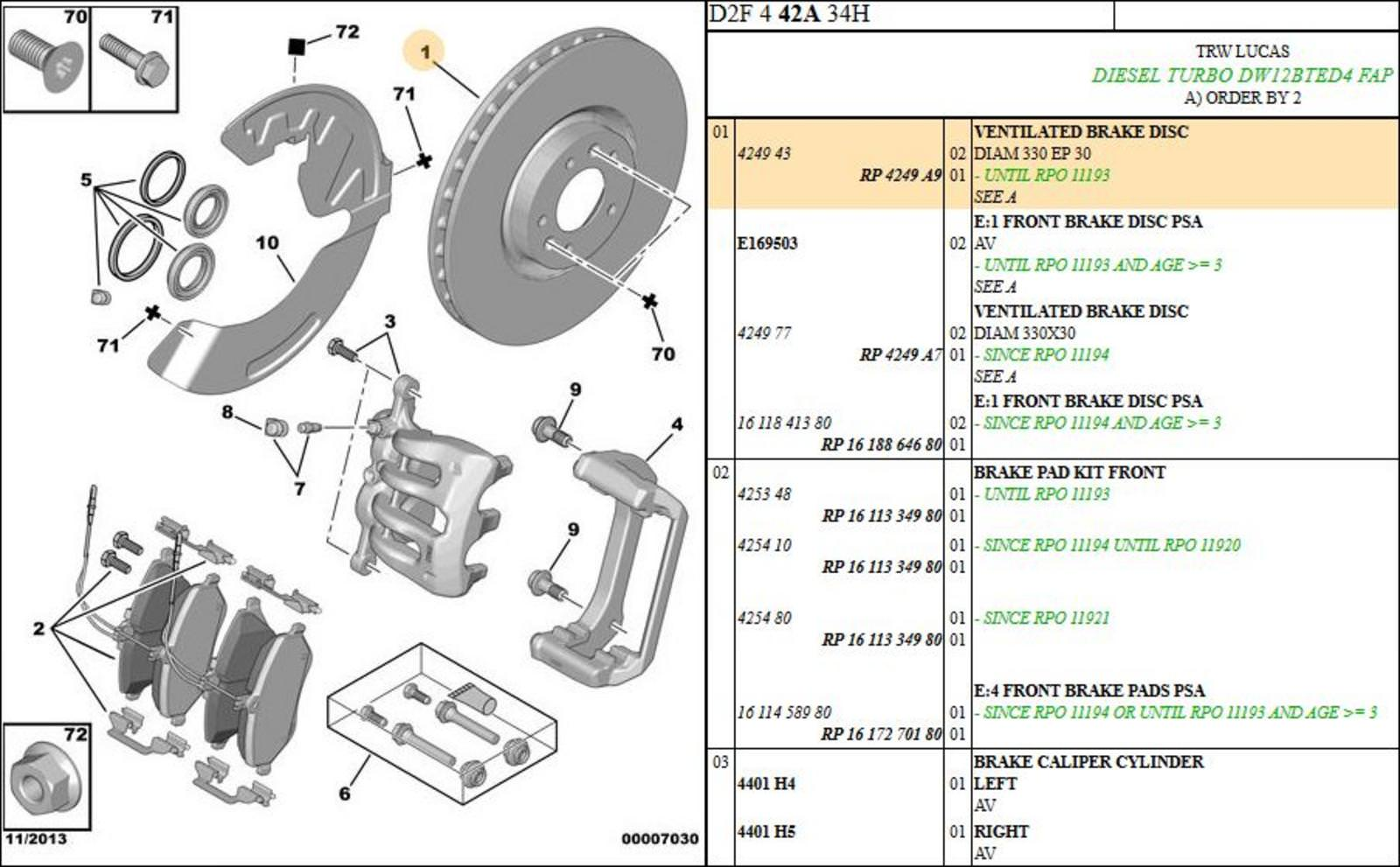 hight resolution of peugeot 407 front ventilated brake disc diam 330