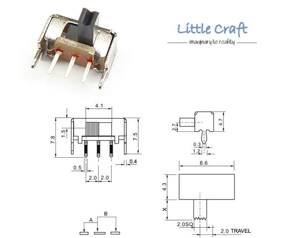 SPDT 3 Pins Right Angle Slide Switch (end 7/3/2019 1:15 AM)