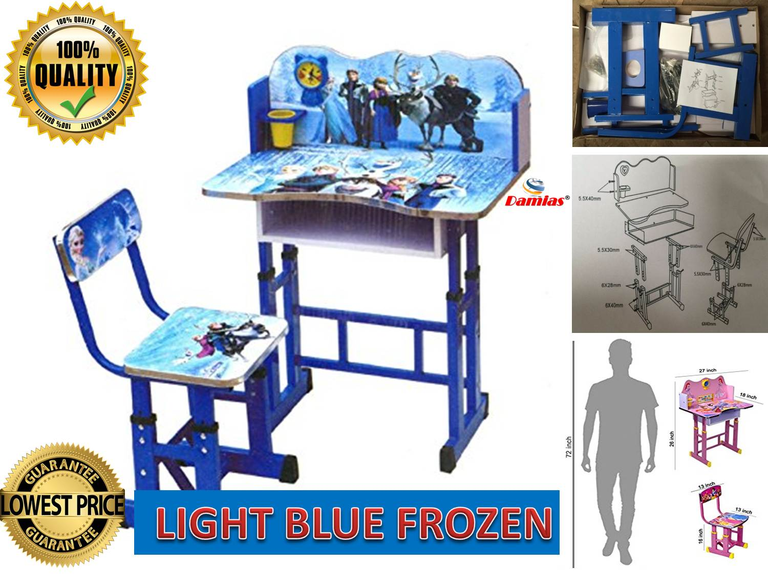 Study Table And Chair Study Table And Chair Kid Set With Cartoon Theme Light Blue Frozen