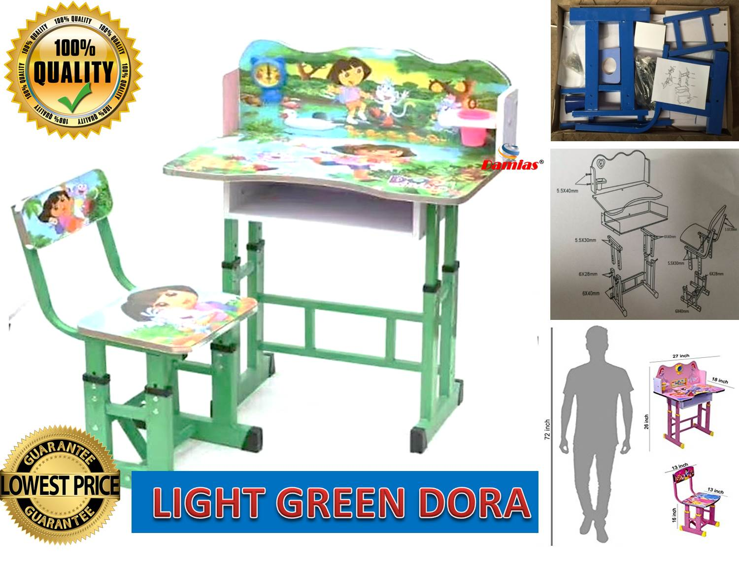 Study Table And Chair Study Table And Chair Kid Set With Cartoon Theme Light Green Dora