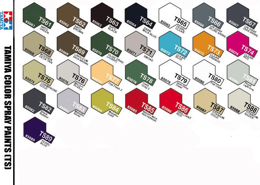 Tamiya Spray Paint Color Chart