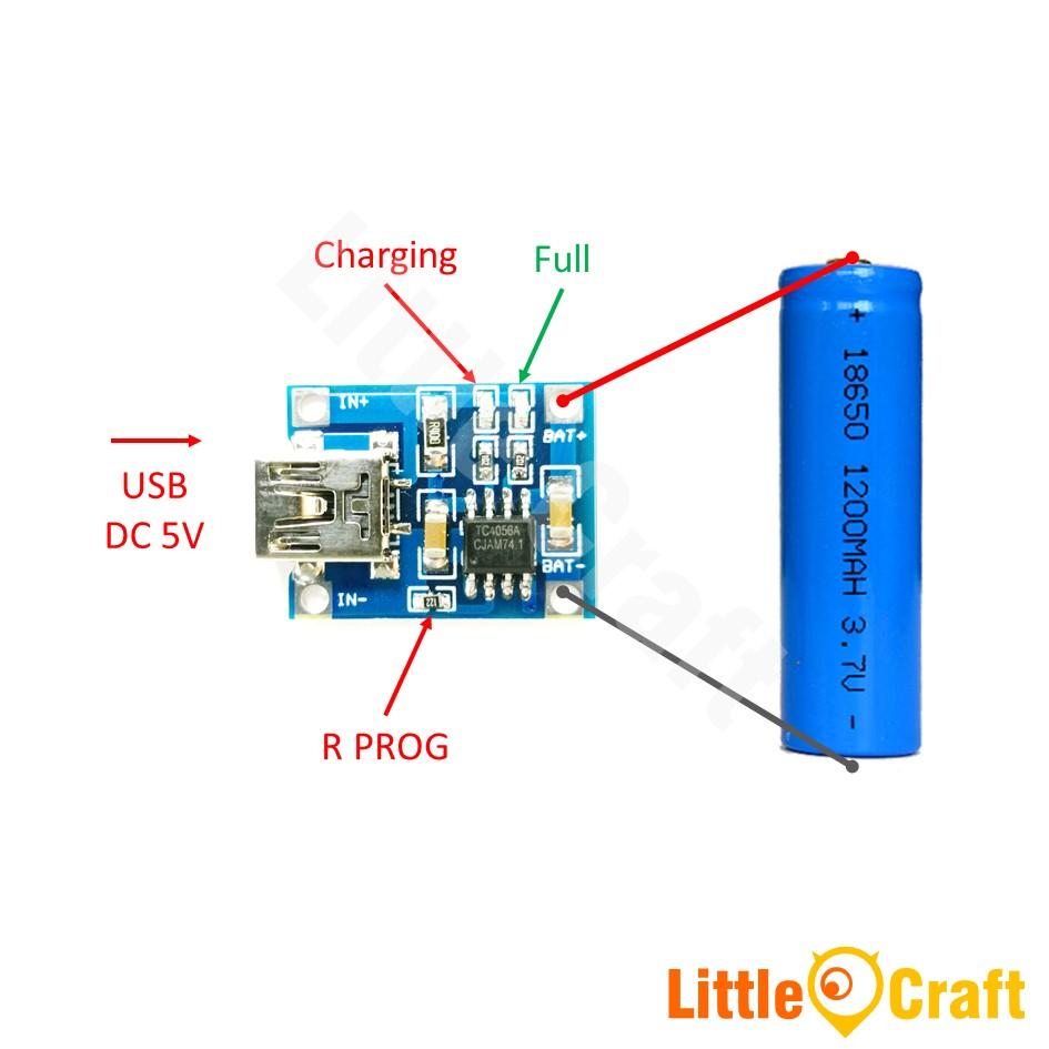 medium resolution of tp4056 single cell 1a li ion battery charger module mini usb