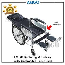 wheelchair yang bagus chair stand test rehab measures price harga in malaysia kerusi roda amgo reclining folding with commode medical wheel