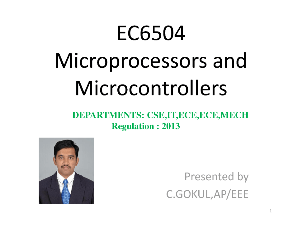 EC6504 Microprocessor And Microcontroller Lecture Notes