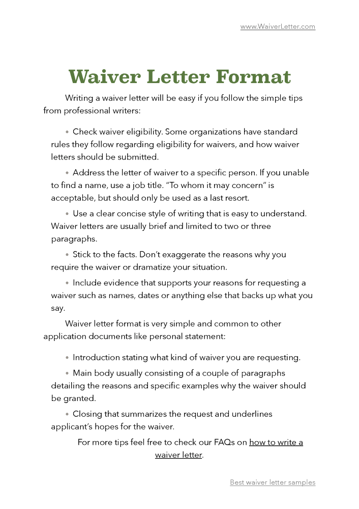 waiver letter samples authorstream