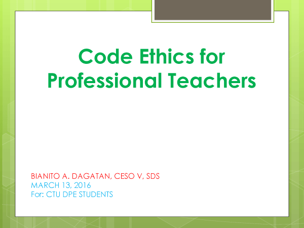 Professional Code of Ethics Examples