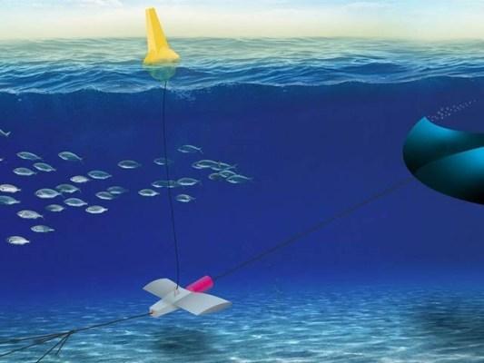 امریکی ماہرین نے پتنگ نما نظام بنایا ہے جو پانی میں ڈوب کر بجلی بناسکتا ہے۔ فوٹو: مینٹس سسٹمز