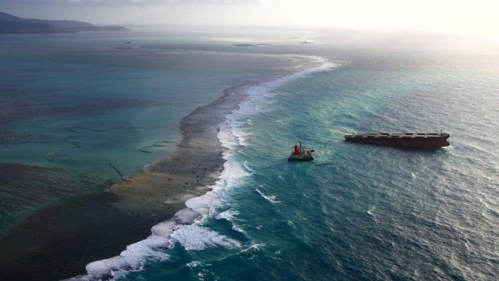 A Japanese bulk carrier MV Wakashio, that has struck a coral reef causing an oil spill, is seen in Mauritius, in this undated aerial picture obtained from social media on August 18, 2020