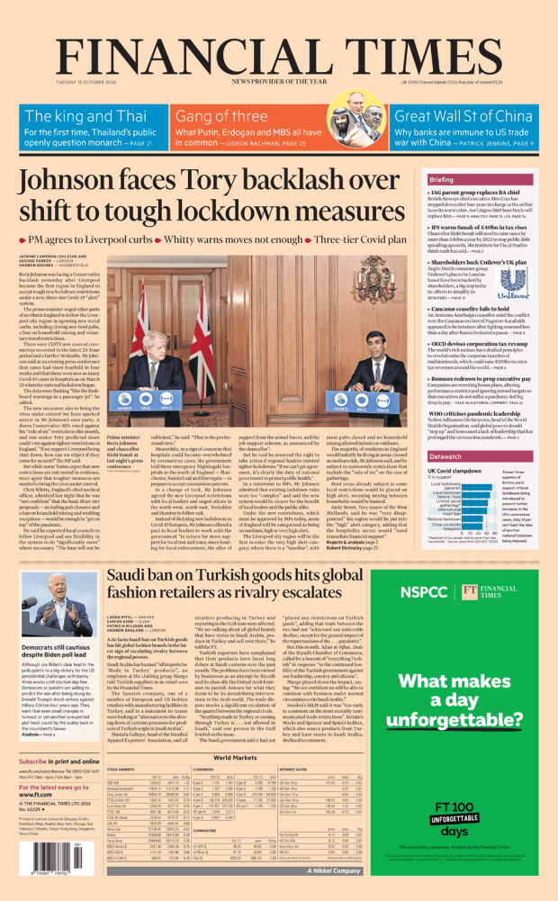 FT front page 13/10/20
